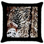 Castle Yard in Winter -AveHurley ArtRevu.com- Throw Pillow Case (Black)