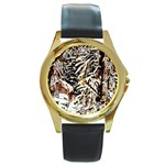 Castle Yard in Winter -AveHurley ArtRevu.com- Round Gold Metal Watch