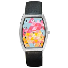 Pastel Triangles Tonneau Leather Watch