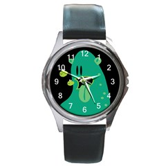 Monster Round Leather Watch (silver Rim) by Contest1771913