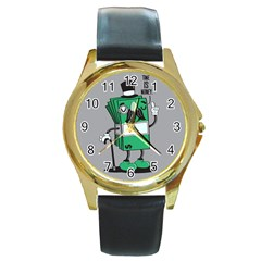 Don t Waste Your Time    Round Leather Watch (gold Rim)  by Contest1771648