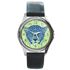 Cheetah Alarm Round Leather Watch (silver Rim) by Contest1738807