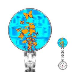 Butterfly Blue Stainless Steel Nurses Watch