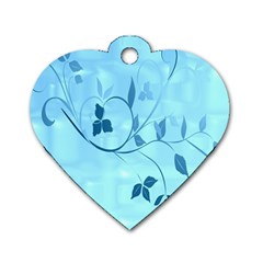 Floral Blue Dog Tag Heart (two Sided)