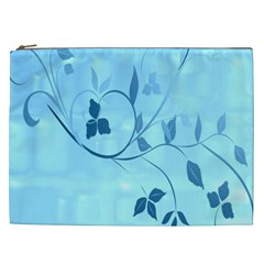 Floral Blue Cosmetic Bag (xxl) by uniquedesignsbycassie