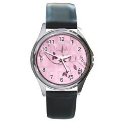 Floral Purple Round Leather Watch (silver Rim)