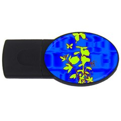 Butterfly Blue/green 4gb Usb Flash Drive (oval) by uniquedesignsbycassie