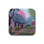 Essex House Cottage -AveHurley ArtRevu.com- Rubber Square Coaster (4 pack)