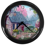 Essex House Cottage -AveHurley ArtRevu.com- Wall Clock (Black)