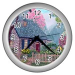 Essex House Cottage -AveHurley ArtRevu.com- Wall Clock (Silver)