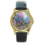 Essex House Cottage -AveHurley ArtRevu.com- Round Gold Metal Watch