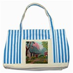Essex House Cottage -AveHurley ArtRevu.com- Striped Blue Tote Bag