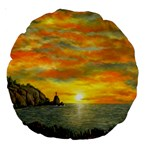 James Hurley Point Lighthouse -AveHurley ArtRevu.com- Large 18  Premium Round Cushion
