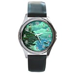 Jerrys Lighthouse -  Ave Hurley - Wrap Canvas Version Round Metal Watch