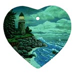 Jerrys Lighthouse -  Ave Hurley - Wrap Canvas Version Ornament (Heart)