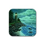 Jerrys Lighthouse -  Ave Hurley - Wrap Canvas Version Rubber Square Coaster (4 pack)