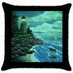 Jerrys Lighthouse -  Ave Hurley - Wrap Canvas Version Throw Pillow Case (Black)