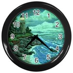 Jerrys Lighthouse -  Ave Hurley - Wrap Canvas Version Wall Clock (Black)