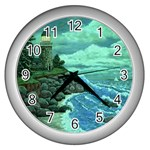 Jerrys Lighthouse -  Ave Hurley - Wrap Canvas Version Wall Clock (Silver)