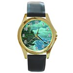 Jerrys Lighthouse -  Ave Hurley - Wrap Canvas Version Round Gold Metal Watch