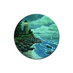 Jerrys Lighthouse -  Ave Hurley - Wrap Canvas Version Rubber Round Coaster (4 pack)