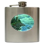 Jerrys Lighthouse -  Ave Hurley - Wrap Canvas Version Hip Flask (6 oz)