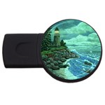 Jerrys Lighthouse -  Ave Hurley - Wrap Canvas Version USB Flash Drive Round (2 GB)