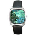 Jerrys Lighthouse -  Ave Hurley - Wrap Canvas Version Square Metal Watch