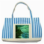 Jerrys Lighthouse -  Ave Hurley - Wrap Canvas Version Striped Blue Tote Bag