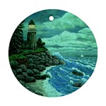 Jerrys Lighthouse -  Ave Hurley - Wrap Canvas Version Round Ornament (Two Sides)