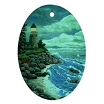 Jerrys Lighthouse -  Ave Hurley - Wrap Canvas Version Oval Ornament (Two Sides)