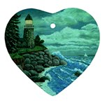 Jerrys Lighthouse -  Ave Hurley - Wrap Canvas Version Heart Ornament (Two Sides)