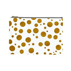 Tan Polka Dots Cosmetic Bag (large) by Colorfulart23