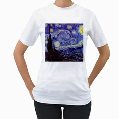 Vincent Van Gogh Starry Night Womens  T Shirt (white)