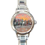 Jane s Winter Sunset -AveHurley ArtRevu.com- Round Italian Charm Watch