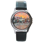 Jane s Winter Sunset -AveHurley ArtRevu.com- Round Metal Watch