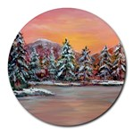 Jane s Winter Sunset -AveHurley ArtRevu.com- Round Mousepad