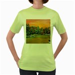 Jane s Winter Sunset -AveHurley ArtRevu.com- Women s Green T-Shirt