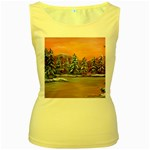 Jane s Winter Sunset -AveHurley ArtRevu.com- Women s Yellow Tank Top