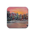 Jane s Winter Sunset -AveHurley ArtRevu.com- Rubber Coaster (Square)