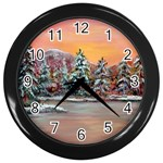 Jane s Winter Sunset -AveHurley ArtRevu.com- Wall Clock (Black)