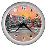 Jane s Winter Sunset -AveHurley ArtRevu.com- Wall Clock (Silver)
