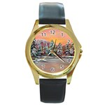 Jane s Winter Sunset -AveHurley ArtRevu.com- Round Gold Metal Watch