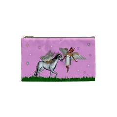 Unicorn And Fairy In A Grass Field And Sparkles Cosmetic Bag (small) by goldenjackal