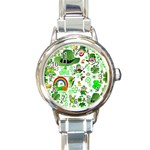 St Patrick s Day Collage Round Italian Charm Watch