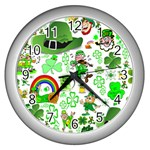 St Patrick s Day Collage Wall Clock (Silver)