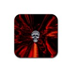 Skeleton in Blood Bath Rubber Square Coaster (4 pack)