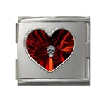 Skeleton in Blood Bath Mega Link Heart Italian Charm (18mm)