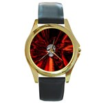 Skeleton in Blood Bath Round Gold Metal Watch