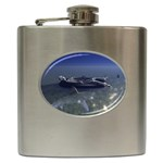 Skeleton Castaway and Shark Fantasy Hip Flask (6 oz)